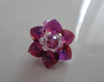 Ring Lily Fuchsia Swarovski Crystal beads