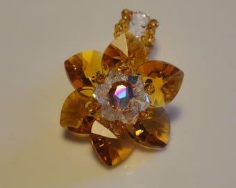 Water lily color Topaz Swarovski Crystal Pearl handmade ring