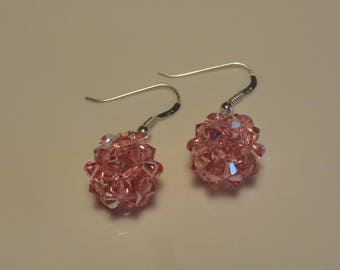 HAND made light pink Swarovski Crystal Pearl ball earrings