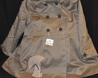 CLEARANCE 30% - girl satin gray gabardine trench coat