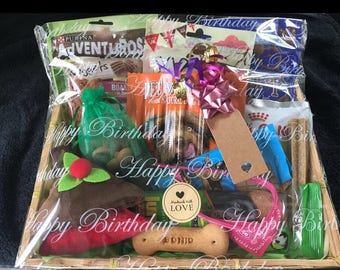 Deluxe Handmade Large Dog Treat Hamper Inc Quality Soft Squeaky Plush Toy