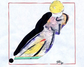 Nude woman 3. Watercolor, ink, black pencil and paper collage on paper drawing sketch pad