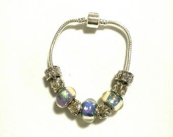 European bracelet with iridescent purple European beads