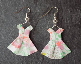 Earrings ivory floral origami dresses