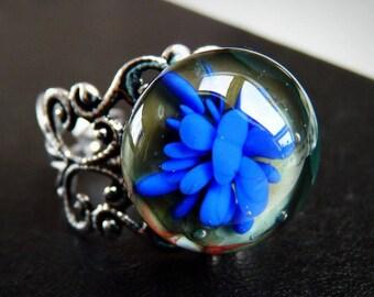 Blue Lampwork Glass flower ring