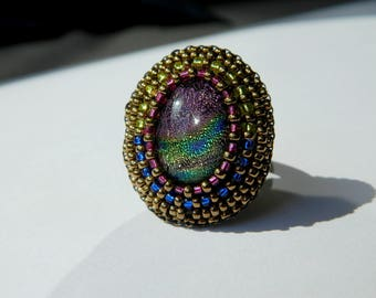 beading and Dichroic Glass cabochon ring