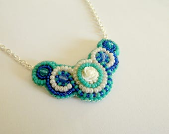 Handmade beaded, necklace, cream, turquoise and blue tones