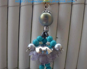 Jewelry bag doll, turquoise, and grey organza flower, wood, Crystal