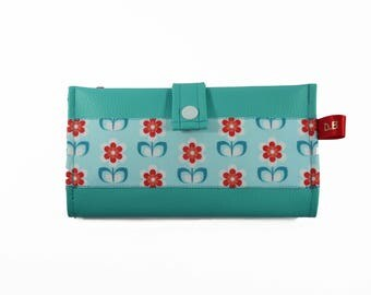 Turquoise red faux leather checkbook wallet