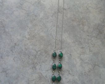 Necklace in 925 sterling silver and malachite Green