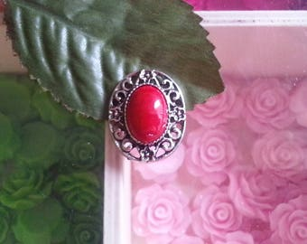 1 pendant with alloy with turquoise synthetic oval cabochon, red, 23 x 19 x 6 mm, hole: 1 x 2 mm