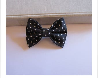 "hair bow ""clip - me"" black white polka dots"