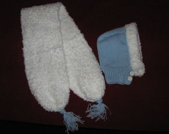 Hood and scarf hand knitted baby