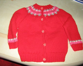 New hand knitted vest red girl with jacquard 24 months.