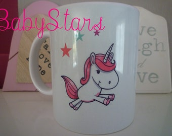 Mug with illustration, birthday, anniversary gift, personalized Unicorn