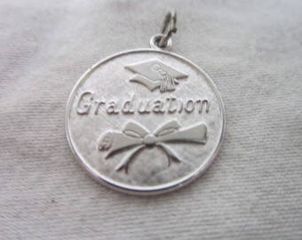 Vintage Wells Sterling Silver Charm Bracelet Charm Graduation Nice