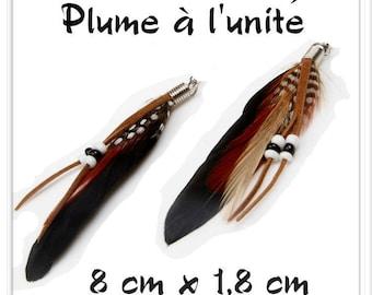 Black Brown l ' single white feather pendant