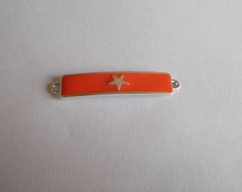 beautiful connector enamelled star reddish orange