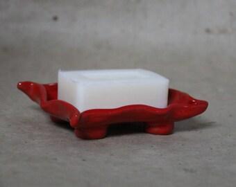 Red ceramic SOAP dish