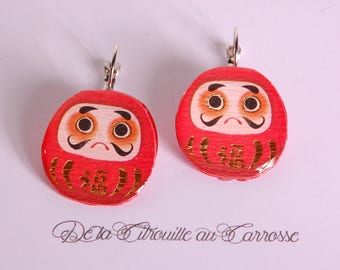 Japanese lucky charm earrings daruma