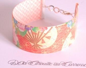 Orange floral Japanese bracelet cuff pattern