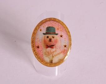 Ring dog bowler, pale pink sky