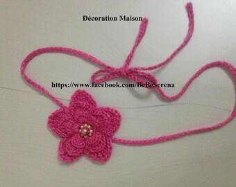Spring pink flower headband handmade in crochet