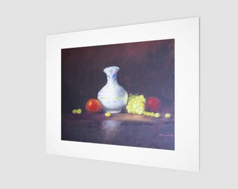 Still Life Fine Art Print | Vase with Fruit Wall Decor | Business & Home Hanging Wall Accents