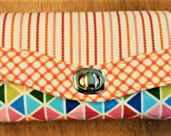 Wallet for Women, Orange, Blue,  Fabric Wallet, Handmade, Compact,  Credit Card Holder, Zipper, Clutch, Cell Phone Holder,, NCW,
