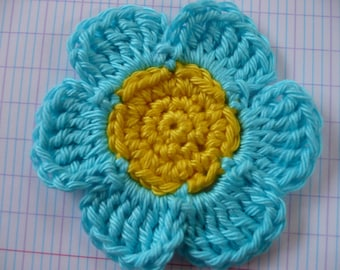 crochet flower, yellow and blue cotton