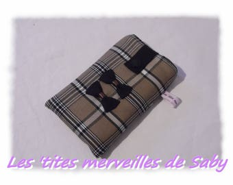 cover has a Brown taupe tartan plaid cell phone