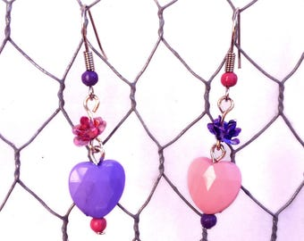 """Earrings """"Marshmalove"""" - pink and purple flowers and hearts"""