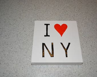 COTTON 3 D CANVAS I LOVE NY BLACK RED AND WHITE