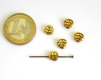 5 beads golden leaves 7 x 7 mm, Tibetan metal tree leaf