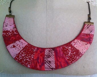 Necklace red and dusty pink