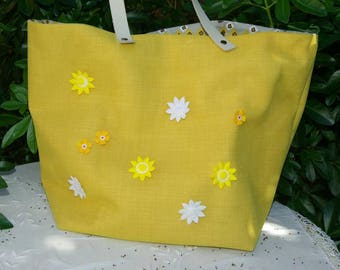 "Tote bag ""Sausalito"" canvas and yellow tulle"