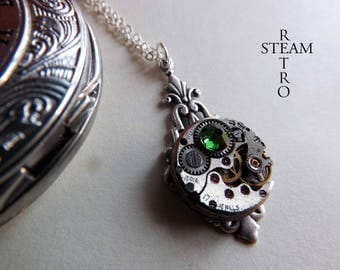 Art deco fern green necklace - steampunk jewellery - by Steamretro-steampunk necklace steampunk