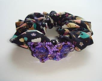 scrunchie hair beads purple acrylic flower