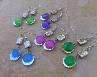 Mirror and glitter cabochon, choice of color earrings
