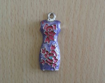 Dress with flowers with Rhinestones, cloisonne enamel charm