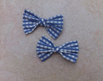 Set of 2 blue & white Gingham Bow