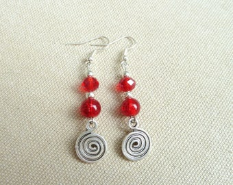 Red beads and silver spiral earrings