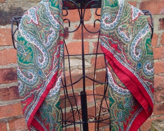 Green and red bold paisley bohemian patterned square scarf