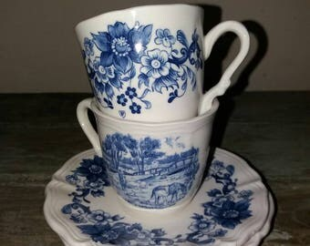Beautiful Set Of 2 Vintage French Sarreguemines Cups And Saucers, Made In France,White,Blue,French Tea Cups, Floral,Horses,Gift,Tea Ware,BP