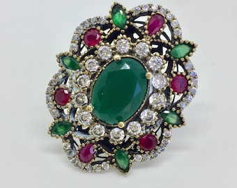Green and Pink Sterling Silver Turkish Ring
