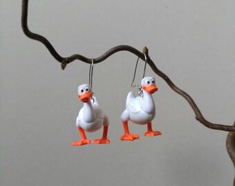 Plastic recycling toys duck earrings