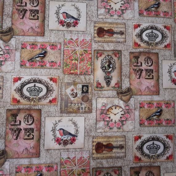 Fabric coupon bird motif, love, Crown, cotton, in shades of pink, beige on black coupon...