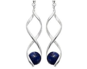 Silver plated swirl earrings - lapis lazuli