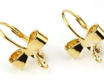 ES-0837 18KGP Gold Plated 750 ‰ - Pair of Leverback Earrings Bow tie