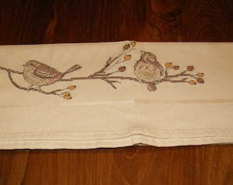"""A love of birds"" hand embroidered Tea towel"